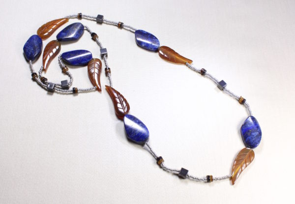 Necklace - lapis lazuli, horn & silver seeds