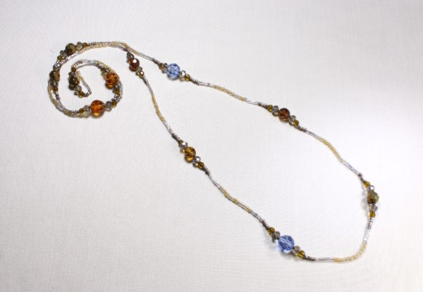 Long necklace amber blue glass & seeds