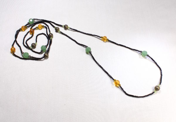 Long necklace - orange/green glass & black seeds