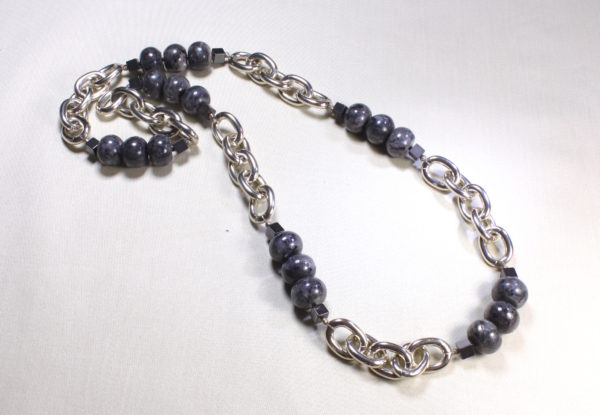 Long necklace - labradorite & silver chain