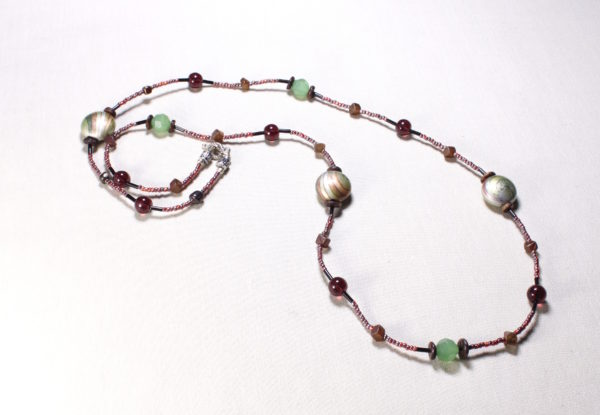 Necklace - claret/green acrylic, glass & seeds