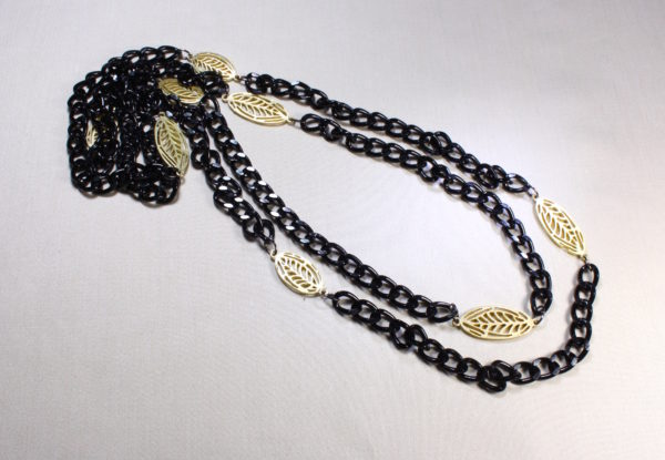 Long Necklace black chain & gold leaves