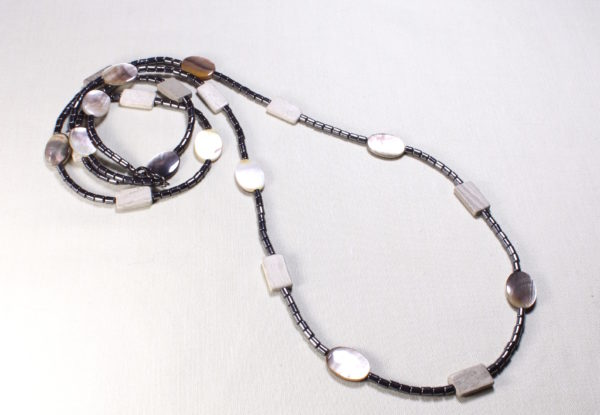 Long Necklace - black lip shell & hematite
