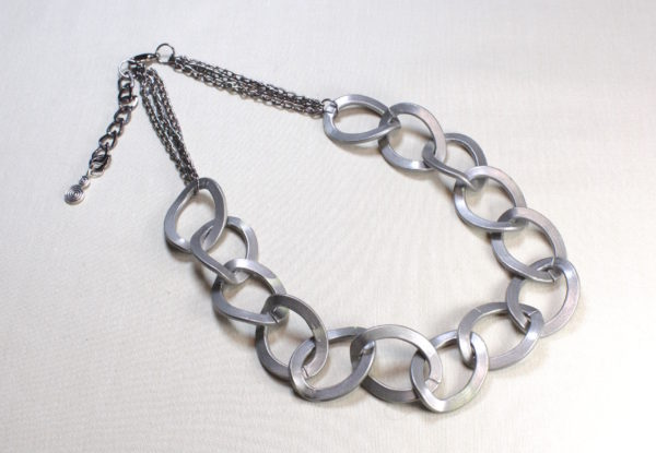 Necklace - pewter-coloured large flat chain