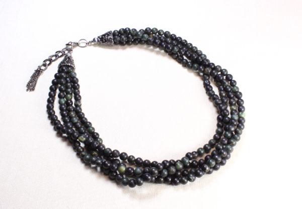 Necklace - multi-strand green serpentine