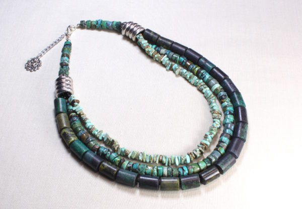 Necklace - triple-strand turquoise & magnesite