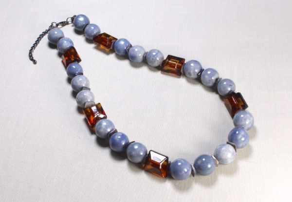Necklace - blue/grey porcelain & clear brown acrylic