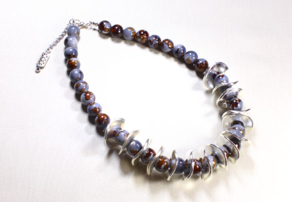 Necklace - greyish blue & brown acrylic & silver discs