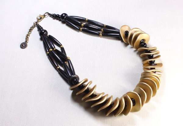 Necklace black glass & bone with gold discs