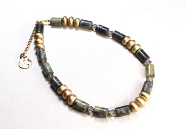 Necklace - yellow turquoise in olive with gold