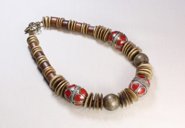 Necklace with Afghan decorative metal beads