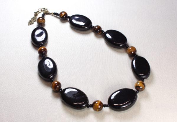 Necklace - black flat oval porcelain & tiger-eye