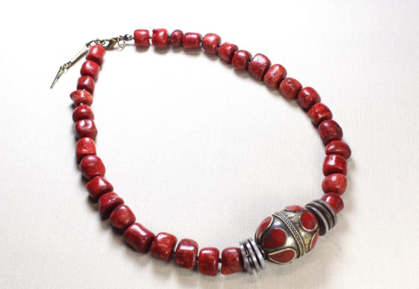 Necklace - Afghan hand-painted bead with coral