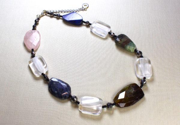 Necklace - multi gemstones & acrylic
