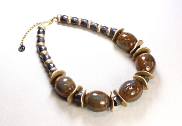 Necklace - large brown/blue porcelain & gold discs