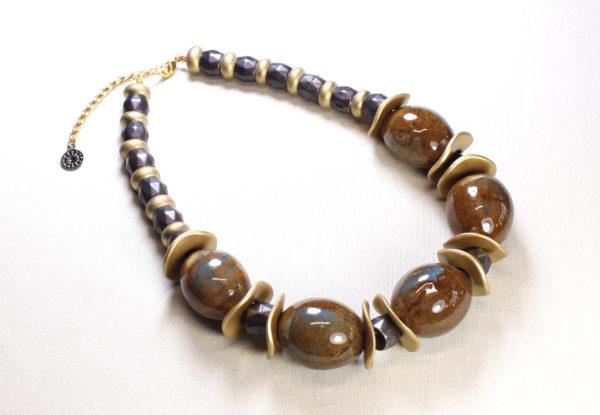 Necklace - large brown/blue porcelain & gold discs