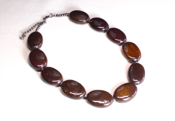Necklace - dark brown flat oval porcelain