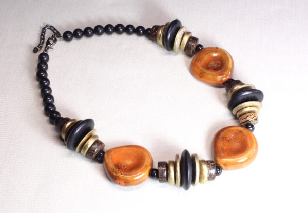 Necklace - Orange porcelain black/gold discs