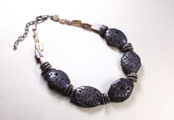 Necklace - large oval lava rock & shells
