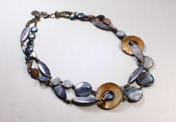 Necklace - blue/grey & gold mother-of pearl