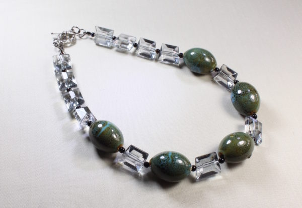Necklace -oval blue/green porcelain & acrylic