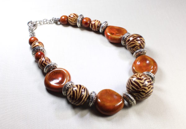 Necklace with flat orange porcelain & zebra painted wood