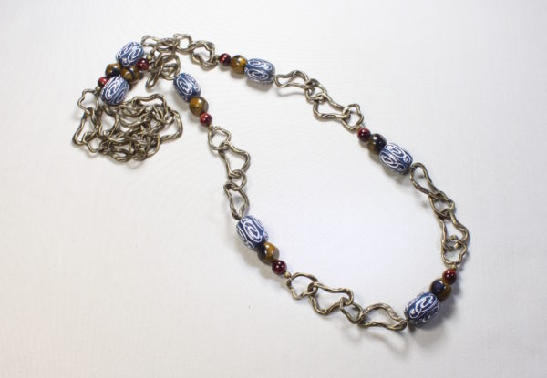 Long necklace - navy acrylic on brass chain