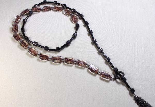 Long necklace - lampwork glass & 'hemalyke'