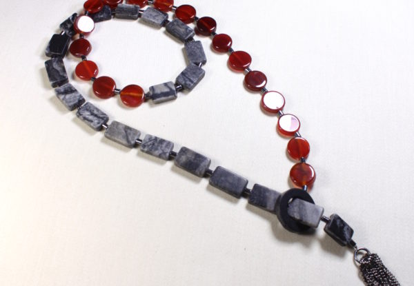 Long necklace with red agate & grey jasper