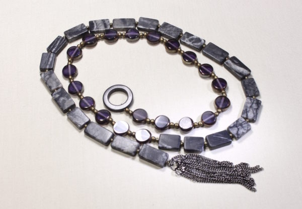 Long necklace - purple glass & grey jasper