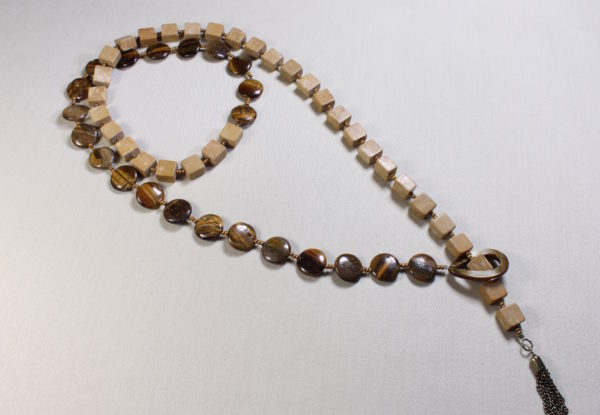 Long Necklace - tiger eye & riverstone