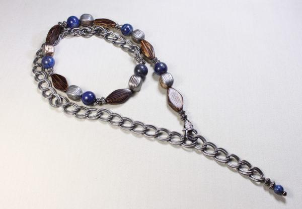 Necklace lapis lazuli, palmwood & chain