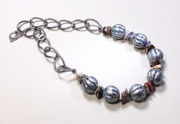 Necklace -  acrylic verdigris beads & gemstone chips