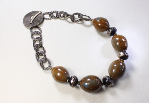 Necklace oval brown porcelain & hammered brass chain
