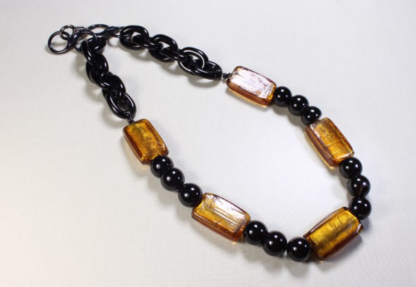 Necklace black agate & golden brown Venetian glass