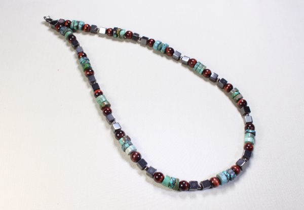 Necklace turquoise, red tiger eye & hematite cubes
