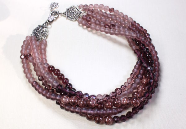 Necklace pink/claret multi-strand glass beads