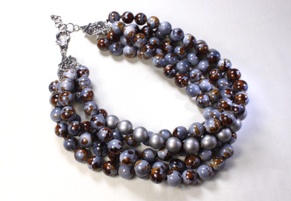 Multi-strand necklace grey-blue & brown acrylic beads