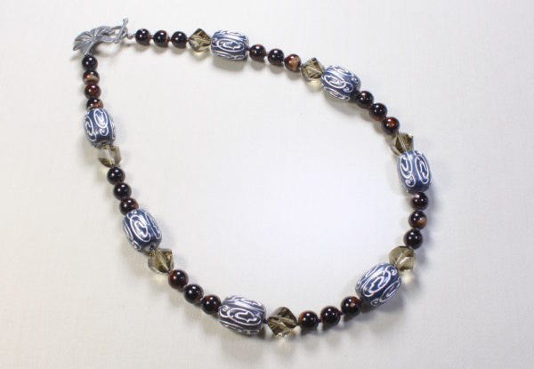 Necklace - Blue/silver acrylic brown and grey glass