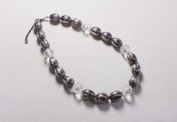 Necklace - oval fluted gunmetal & clear acrylic