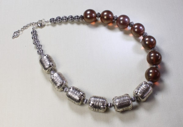 Necklace silver barrel & lustre Indian glass
