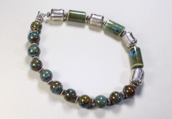 Necklace blue/green porcelain & silver barrel beads