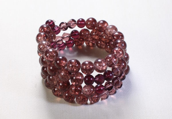 Bracelet - claret glass and crackle beads