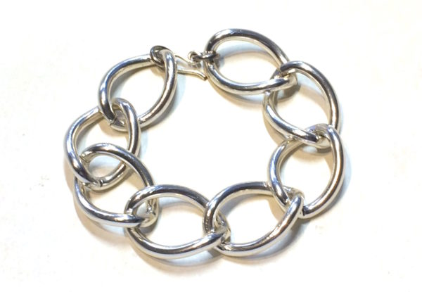 Bracelet large silver-finish chain