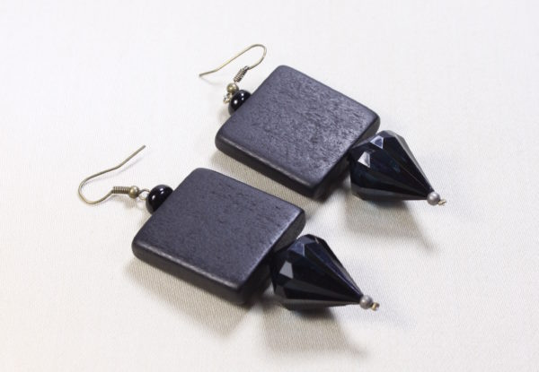 Earrings black painted wood & acrylic