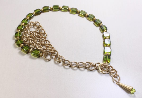 Long Necklace green square glass & gold chain
