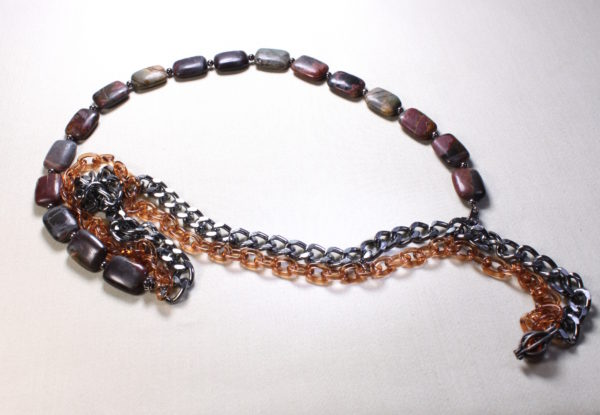 Necklace red creek jasper & double chain