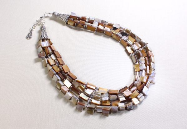 Necklace multi-strand mother-of pearl shell