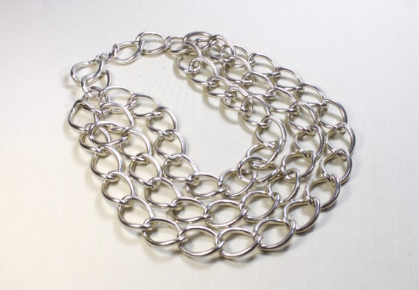 Necklace triple-strand large silver chain
