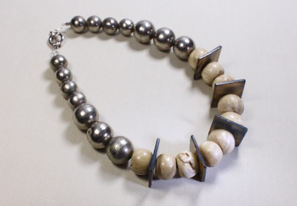 Necklace antique Tibetan metal and shell beads